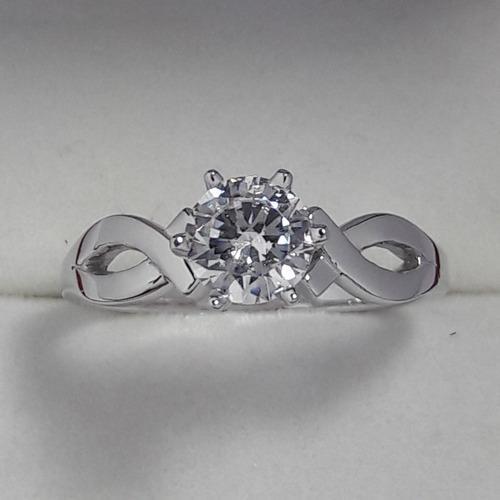anillos  compromiso oro blanco 14kt brillante ruso .75 dosx