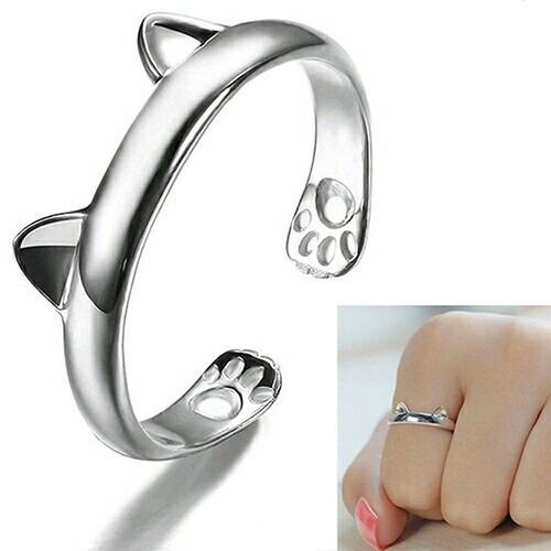 anillos con forma de gato - ajustable - orejas de gato