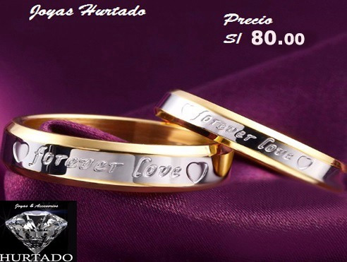 anillos d compromiso d titaniun bañado en oro d 18