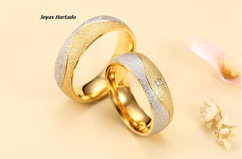 anillos d matrimonio  d acero quirúrgico bañados en oro d 18
