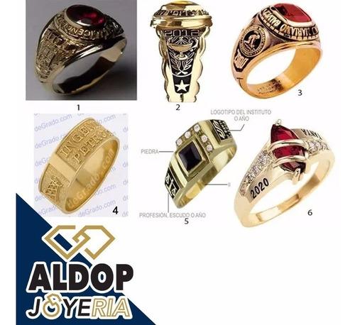 anillos de graduacion con baño de oro 18k