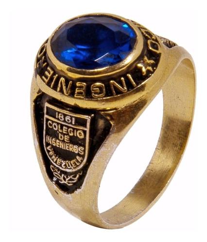 anillos de graduación en plata 925 con baño de oro 6x8