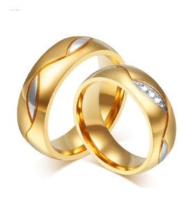 nueva llegada 344b5 f3c44 Anillos De Matrimonio Bañados Oro 18k Aros Alianza Boda