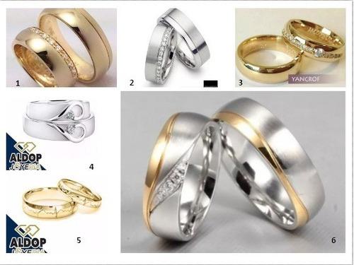 anillos de matrimonio en plata y baño de oro blanco 18k