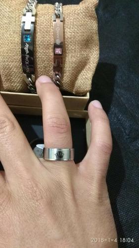anillos de pareja de acero inoxidable rey y reina plateados