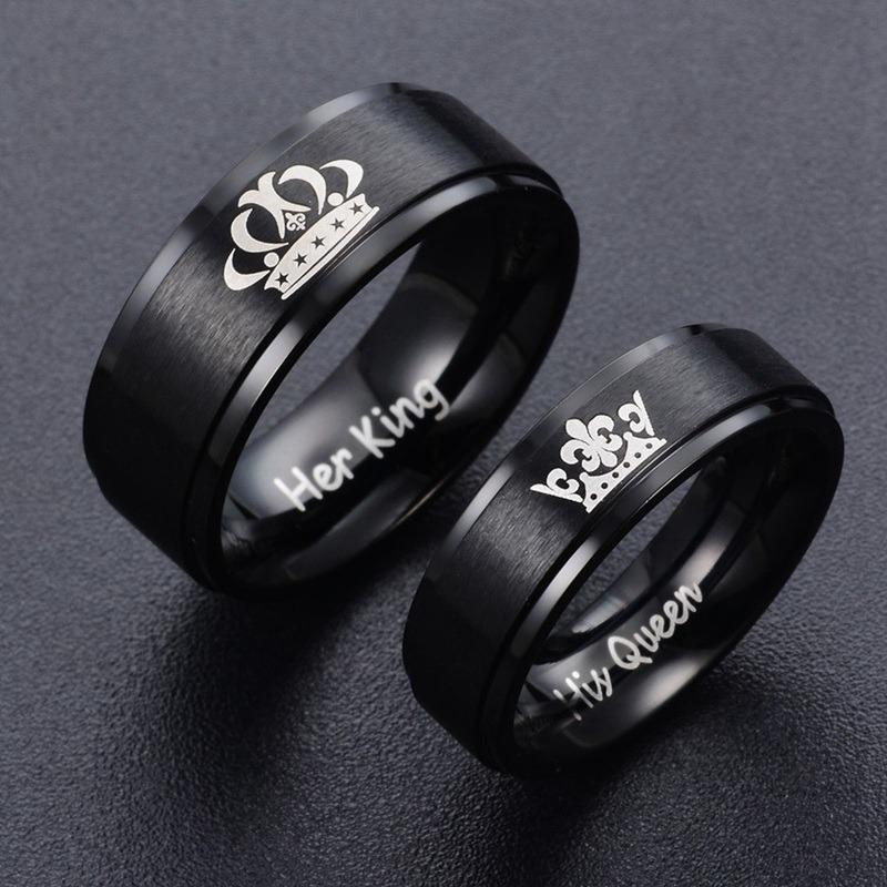 837f0f8cd3e5 Anillos De Pareja Negros Rey Y Reina Compromiso Acero Inoxda