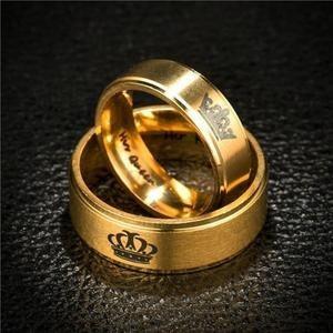 anillos de pareja queen&king dorados