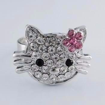 anillos hello kitty pedreria ajustables