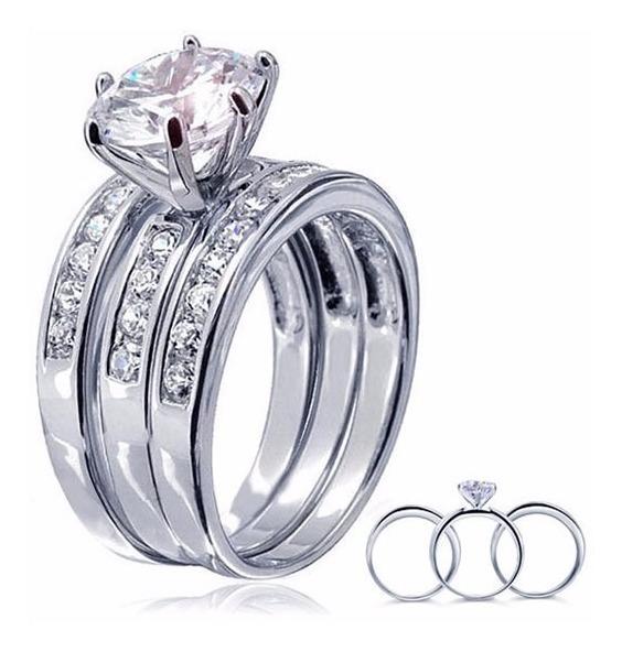 7a0adbfb Anillos Juego 3 Boda Promesa Compromiso Plata 925 Diamante