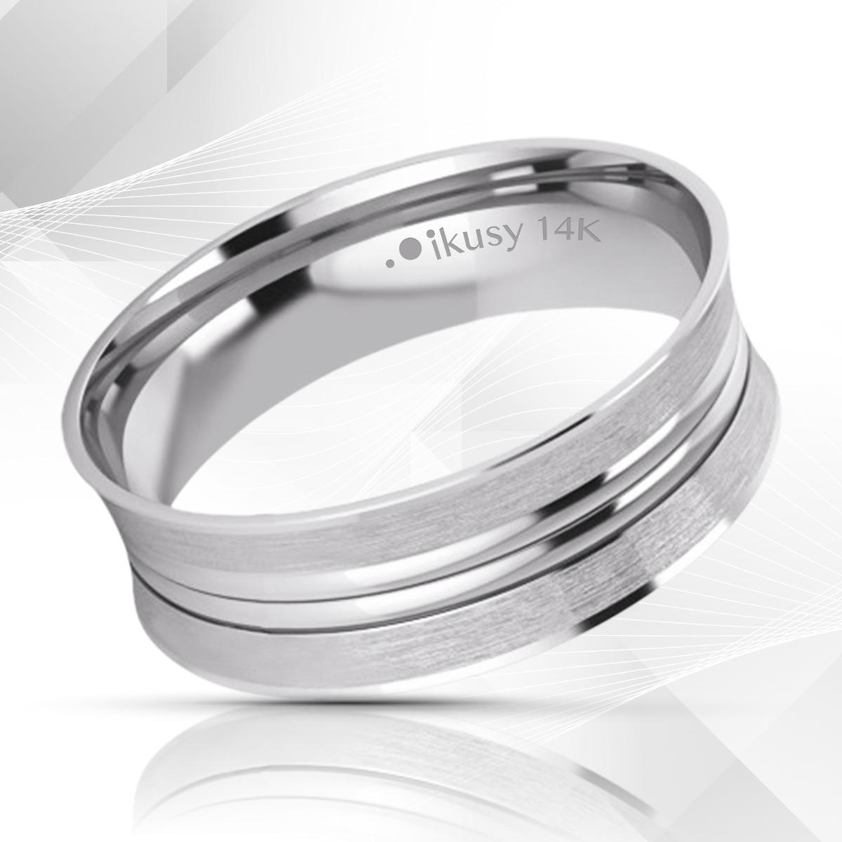 Nueva de 9 quilates de oro blanco diamante 6 mm cepillado Anillo de Boda 0,19 Pts