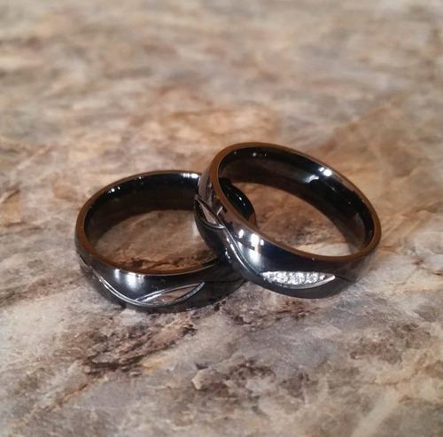 anillos negros para parejas acero inox envio express gratis!