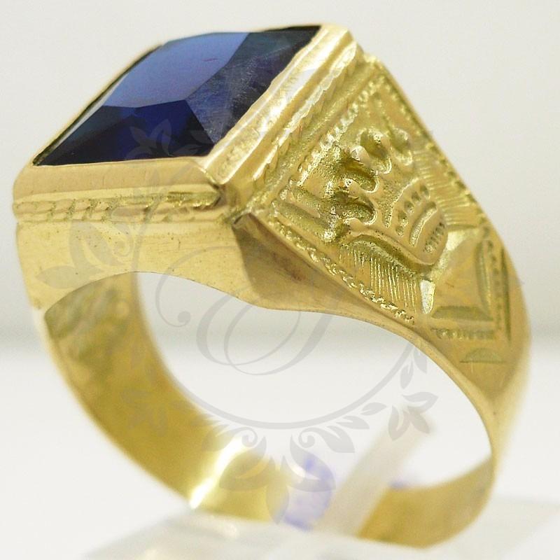 Anillos de oro para hombre con piedra azul