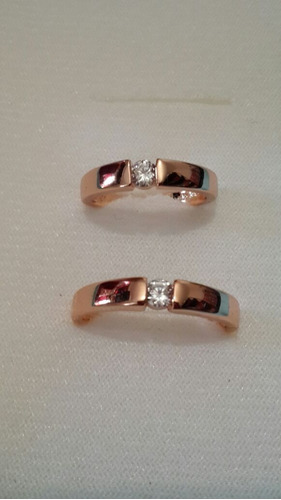 anillos oro rosa de matrimonio con zirconia cubica 0.4 carat