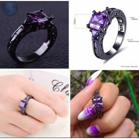 d542b4a978d7 1-anillo Compromiso Plata925 Baño Oro Negro Zirconia Morada