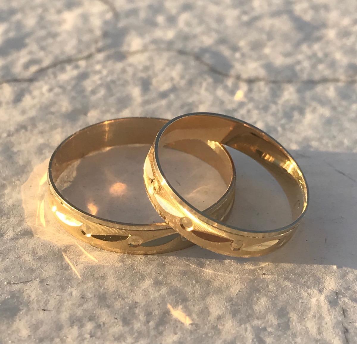 34959ad496c8 Anillos Par Argollas Matrimonio Boda Oro 10 K Oferta! -   1
