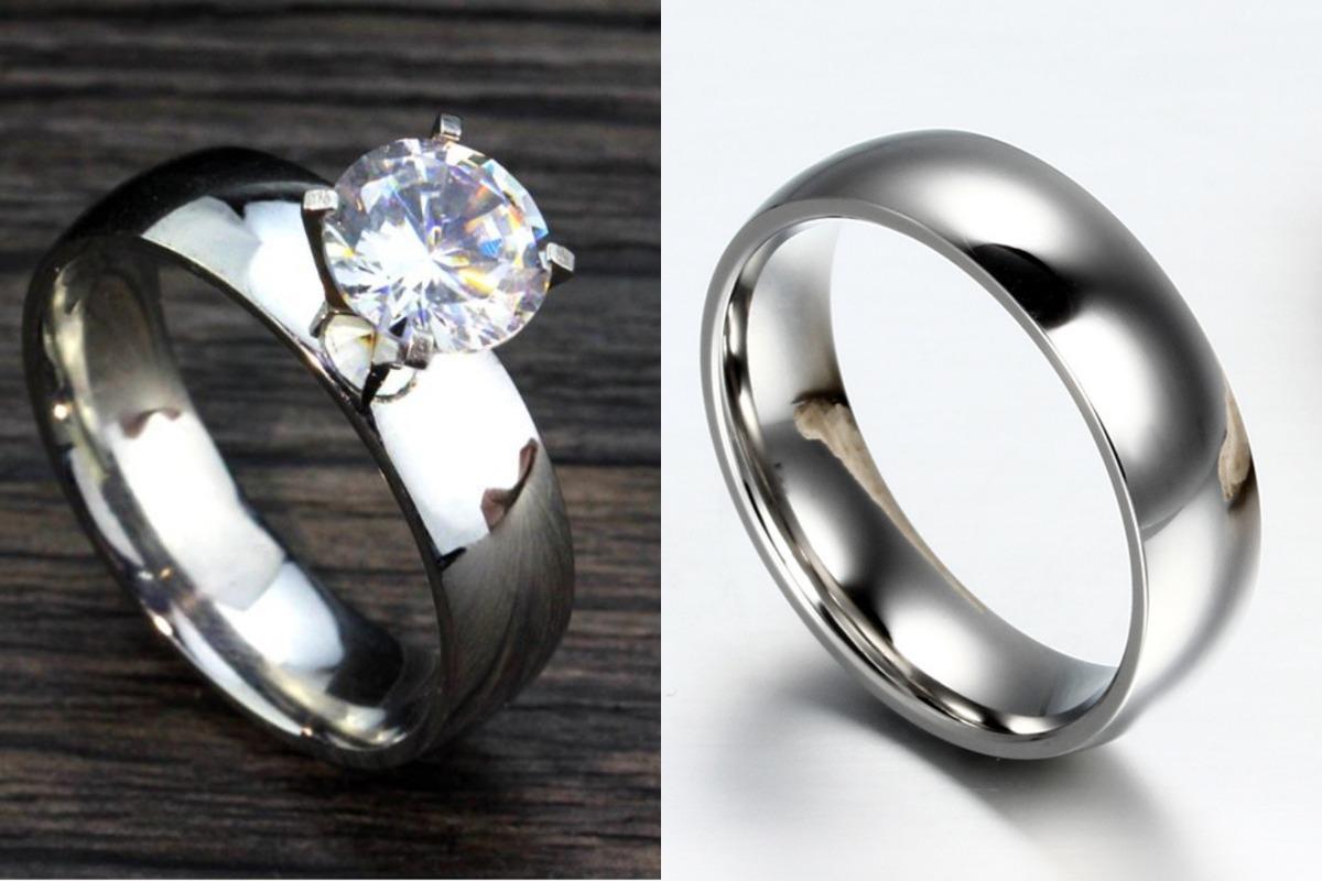 5ca463a0447a anillos para pareja tipo compromiso de acero inoxidable. Cargando zoom.