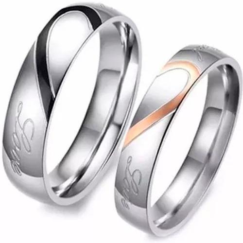 anillos para parejas corazón real love amor real titanio