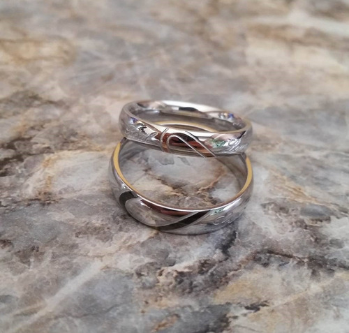 anillos para parejas  real love, amor real corazón titanio
