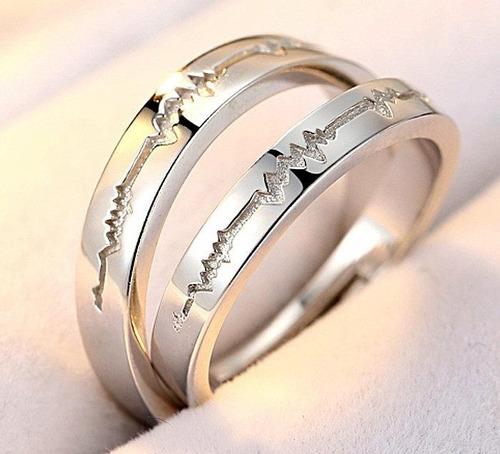 anillos pareja plata .925 latidos corazón heart beat novios