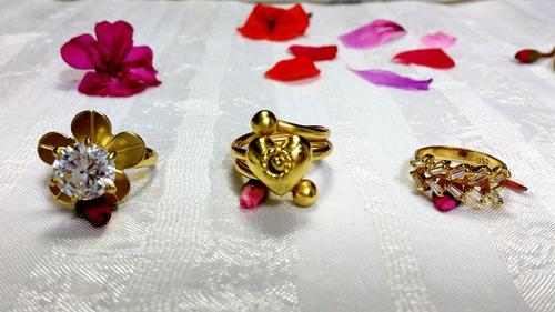 anillos pulseras aretes joyas de plata enchapadas en oro 24k
