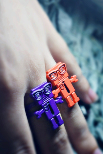 anillos robot hipster, vintage.