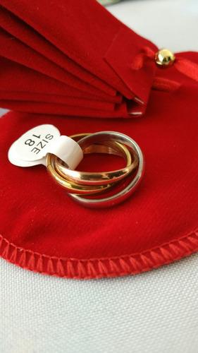 anillos solitarios compromiso acero inoxidable quirúrgico