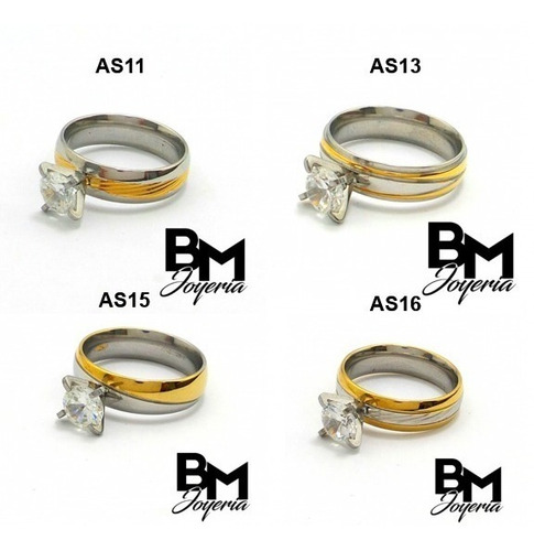 anillos solitarios de compromiso en acero inoxidable 316