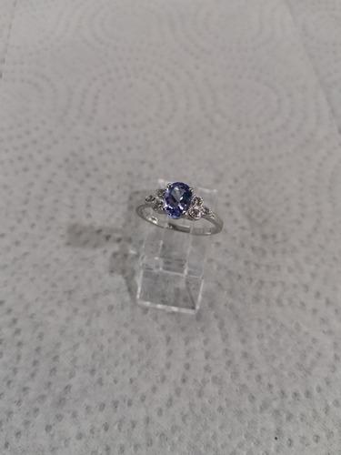 anillos tanzanita natural plata 9.25