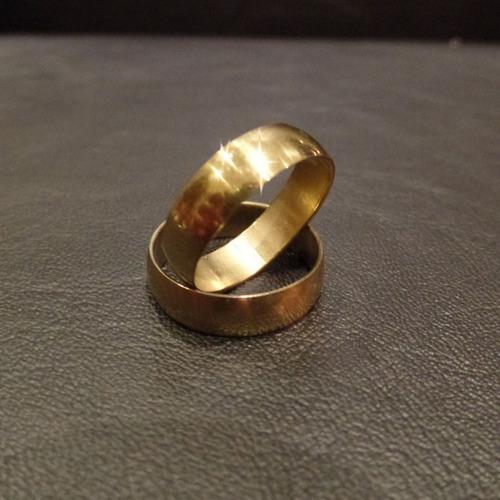 anillos x36 acero quirúrgico alianza grueso dorado xmayor