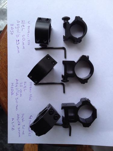 anilos para mira telescopica de 25 y 30mm - riel  11 y 20mm