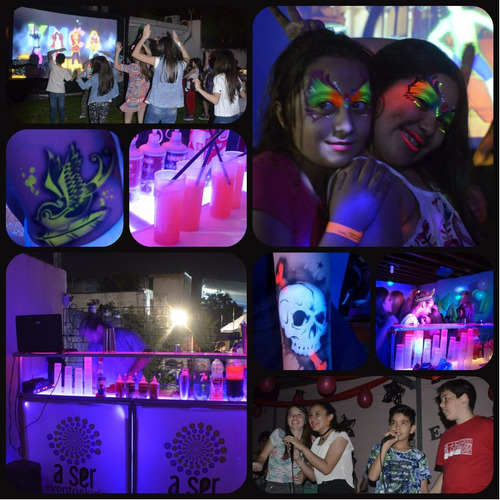 animacion barra teens spa te party titeres pantalla gigante