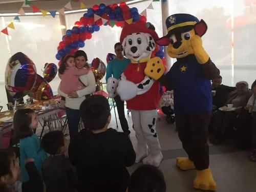animación de cumpleaños con paw patrol, chase y marshal