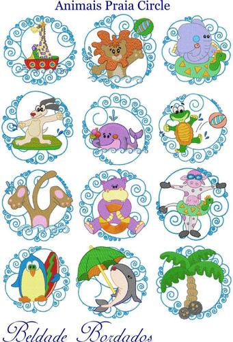 animais praia circle - coleção de matriz de bordado