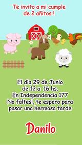 Animales De La Granja Tarjeta Invitación Digital Imprimible