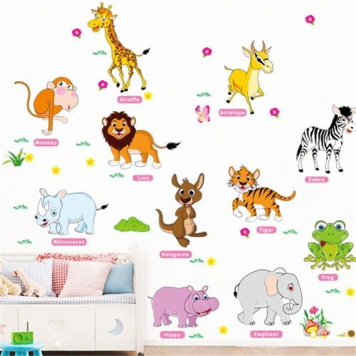 Animales de la selva de la pared pegatinas para ni os for Pegatinas pared ninos