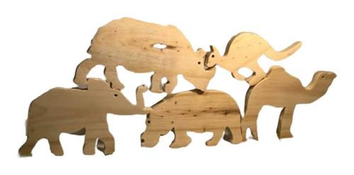 animales de madera sin pintar juego de equilibrio 5 piezas