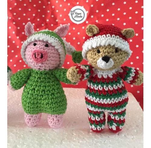 animalitos en pijama tejidos a mano amigurumi adorno navidad