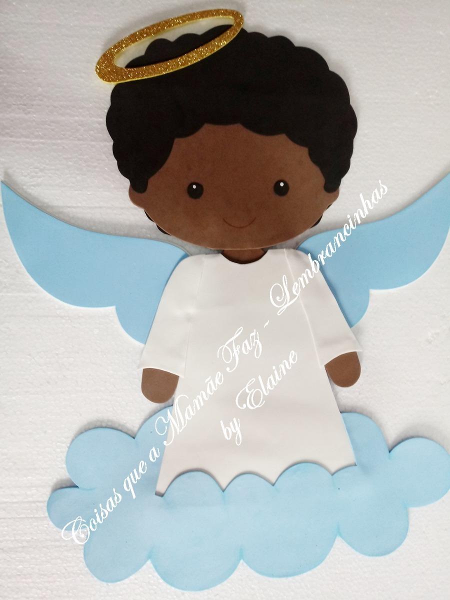 Anjo Batizado Anjinho Negro Eva Decoração Painel Batismo 1un