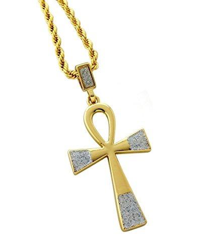 ankh colgante cruz egipcio collar con cadena 24 cuerdas
