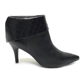 b1db65225 Ankle Boot Feminina Luz Da Lua Cano Curto Em Couro Legíti.
