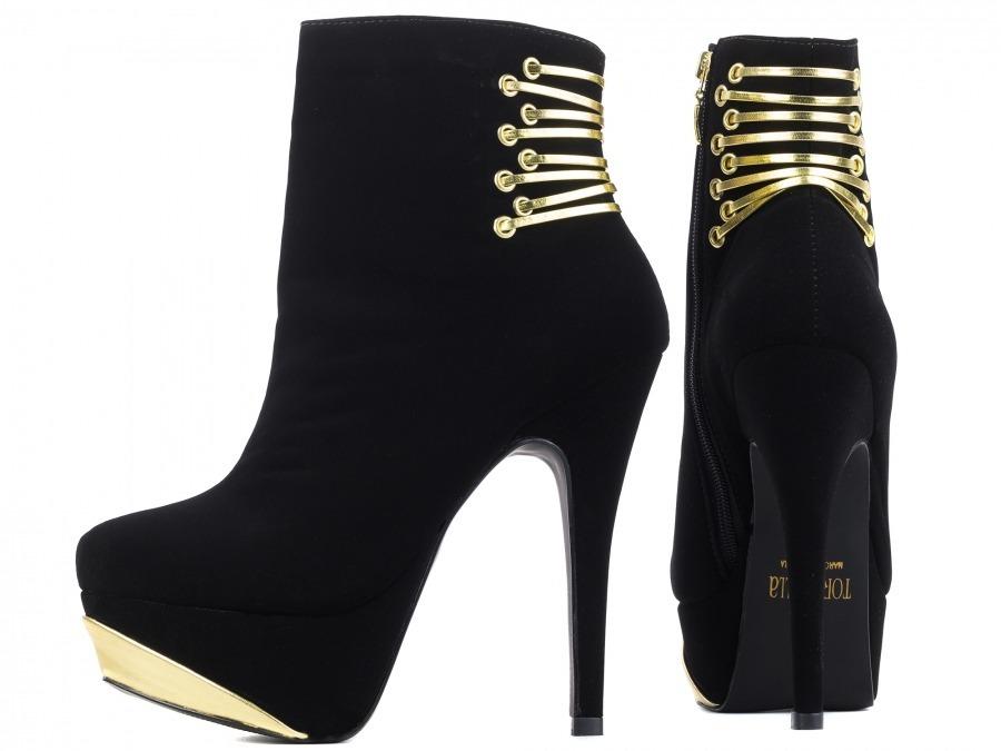 b9405814be ankle boot meia pata com enfeites dourados - preto. Carregando zoom.