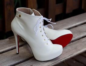 8632f99839 Ankle Boot Salto Alto Tamanho Grande Dm Extra Branco Dme1774