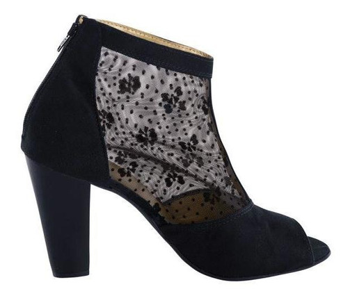 ankle boots bota feminina cano curto com detalhe renda preto
