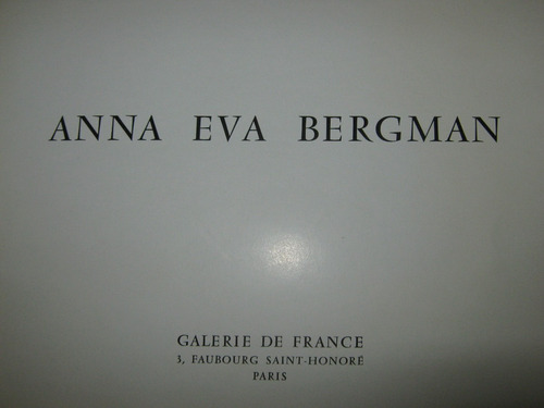 anna eva bergman, catalogo exposición, 1962, paris, 20 fotog
