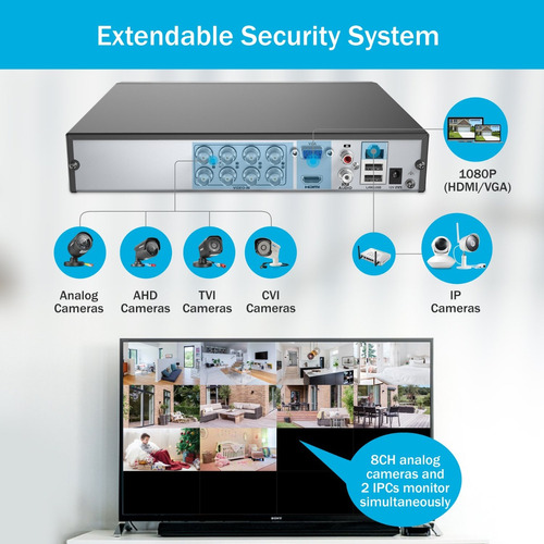 annke security camera system 8 canales 1080p lite video dvr