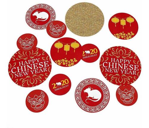 año nuevo chino  año  de la fiesta de la rata confeti...