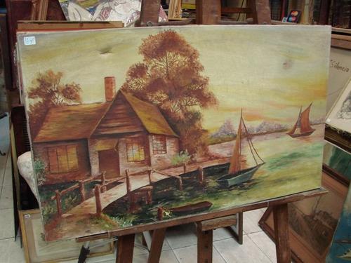 anonimo / casa de lago barcos / oleo / 45 x 75 # 1671