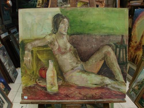 anonimo / mujer recostada interior / oleo / 60 x 70 # 1627