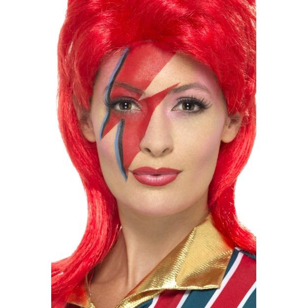 Años 80 Ziggy Stardust David Bowie Peluca O Maquillaje Set