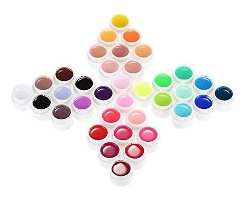 anself 36 color nail art polaco pigmento set gel uv pegament